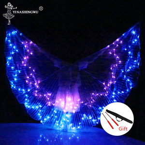Image 5 - Belly Dance LED Wings Colorful LED Dance Props Newest LED ISIS Wings Adults Belly Dance Professional Accessory With Sticks
