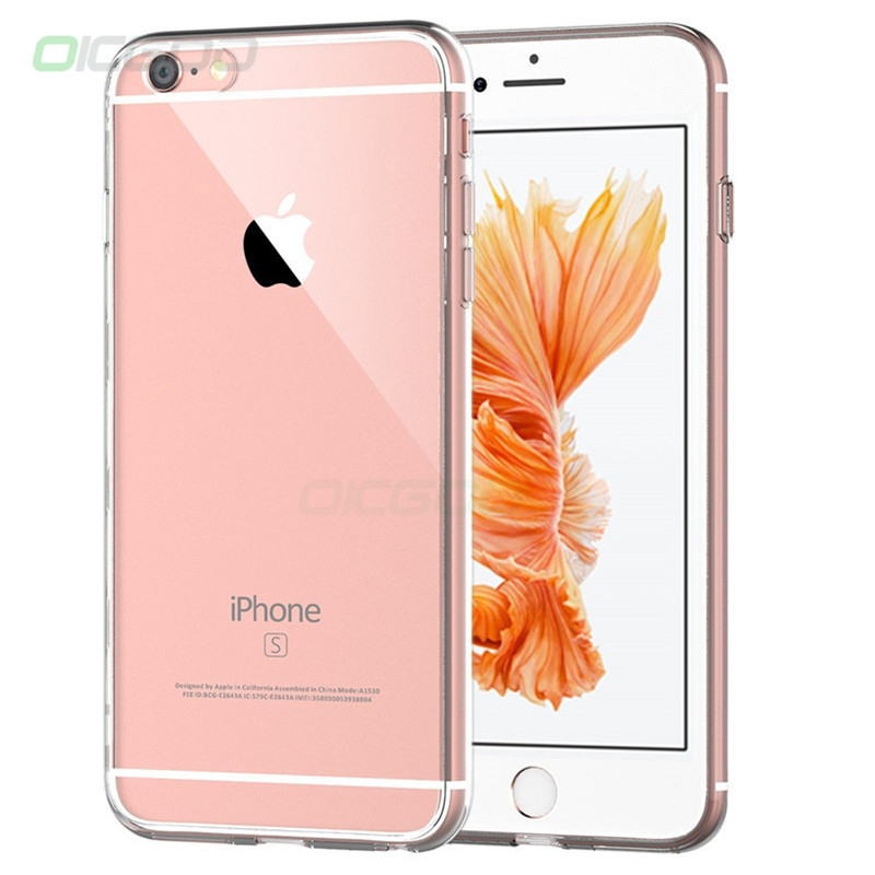 цена OICGOO Transparent Phone Case For iPhone 6 6s 7 8 Plus Ultra Thin Clear Soft TPU Silicone Cover Cases For iPhone 8 7 6 6s Plus