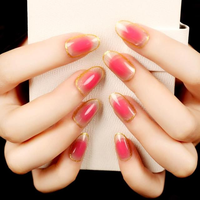 Sweet Jelly Color Oval False Nail Tips Peach Pink Glitter Gold Nails ...