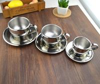 YOYO Bar Supplies/European stainless steel/Double coffee cup/Set flower/Teacup/Milk tea cup/British/Italian/Originality/z