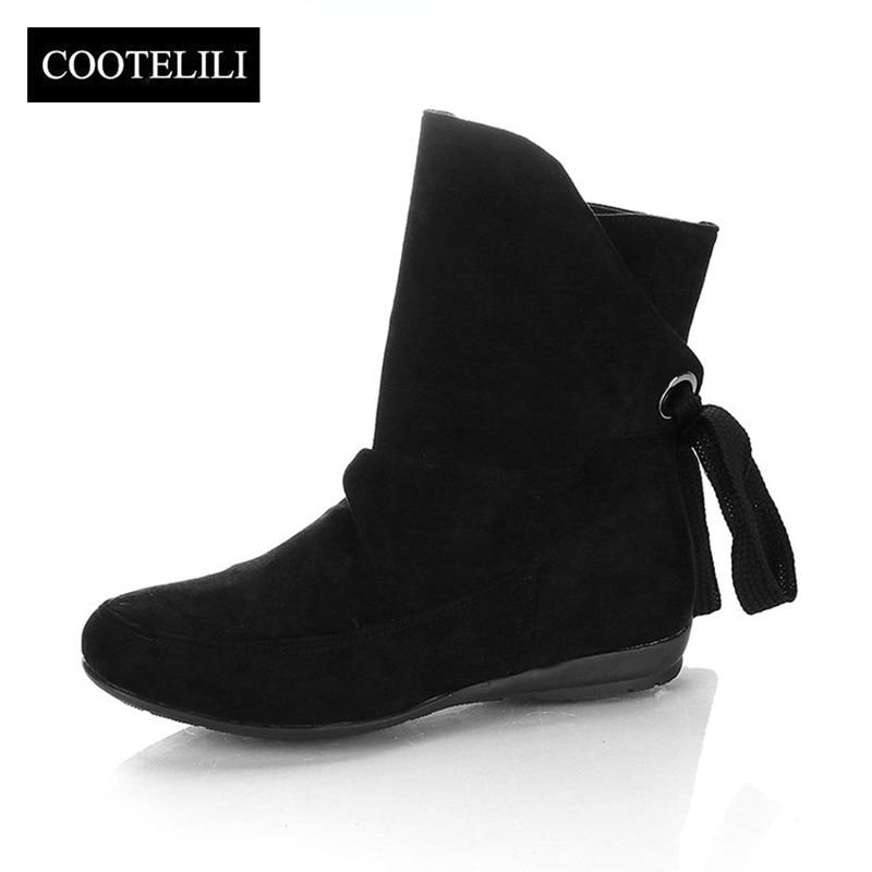 COOTELILI Ankle-Boots Women Shoes Black Lace-Up Plus-Size Fashion Ladies Rubber Winter