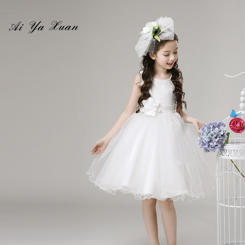 AiYaxuan Flower Girl Dresses For Weddings Ball Gown Long Sleeve O-neck Tulle Appliques Lace Bow First Children Communion Dresses