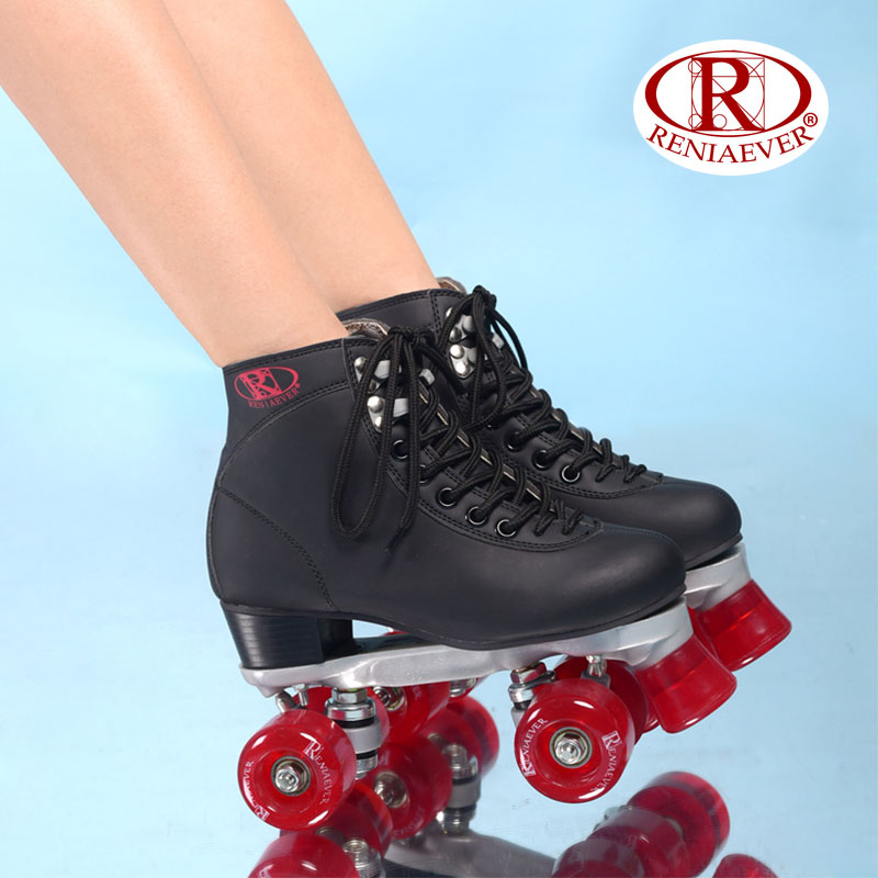 RENIAEVER Roller Skates Double Line Skates Black Women Female Lady Adult Wine Red PU 4 Wheels Two line Skating Shoes Patines reniaever roller skates double line skates white women female lady adult with white pu 4 wheels two line skating shoes patines
