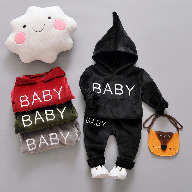 2017 Baby Boy Girl Clothes Set Fleece Set BABY boys sets children Outerwear Toddler Boy Girl Clothing Outfit Autumn Winter 2018 spring clothing set newborn baby boy 1 year birthday party costume toddler boys fashion outerwear children s clothes suit
