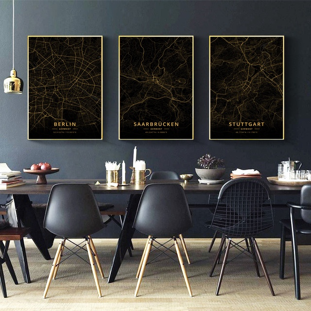 Berlin Stuttgart Wiesbaden Germany City Map Gold Map Canvas Art Print Wall Pictures for Living Room No Frame|Painting & Calligraphy| |  - title=