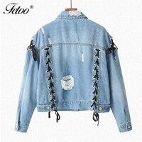 Fetoo Women Denim Jackets Sweet Lace Up Washed Jacket Casual Bandage Holes Coats Female Ripped Jeans