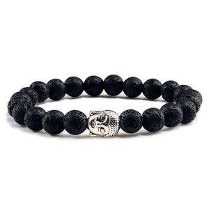 Image 2 - Black Volcanic Lava Stone Buddha Head Elastic Bracelet Male Female Charm Prayer Matte White Beads Bracelets Bangles Jewellery