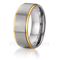 2016 custom size anniversary gift mens pure titanium rings fashion trend two color wedding band