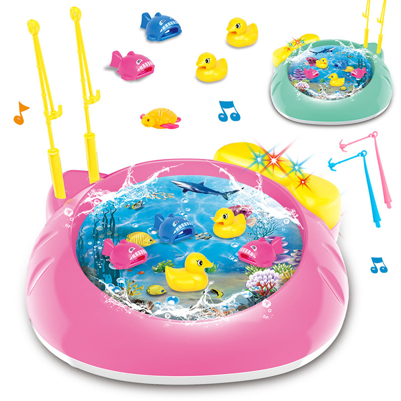 Bright Newly Electric Rotating Fish Pool With Light Music Magnetic Fishing Pole Rod Fish Model Set Kid Educational Toy For Children Puzzles & Games Game Room