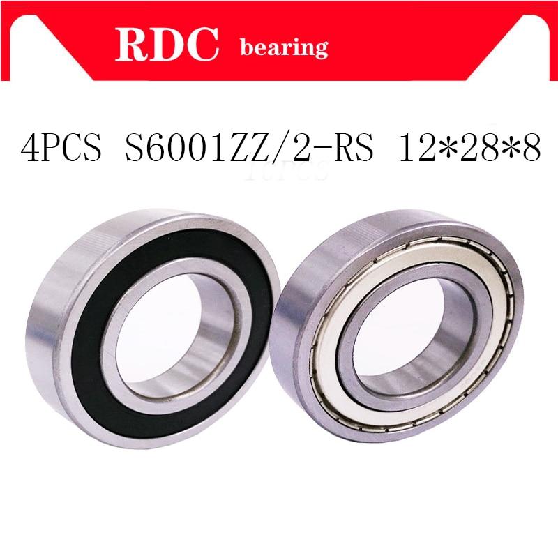 4pcs High-quality ABEC-5 6001ZZ 6001 2RS 6001RS 6001Z 6001 deep groove ball bearing 12*28*8mm 6001rs bearing 6001 bearing несессер carlo gattini rivalta 6001 6001 04
