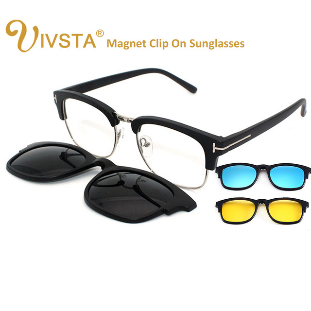 b93b3e65ed4 IVSTA TF 2273 Magnetic Sunglasses Men Polarized Lenses Clip On Glasses  Clips Magnet Prescription Myopia Spectacle Frame Fashion