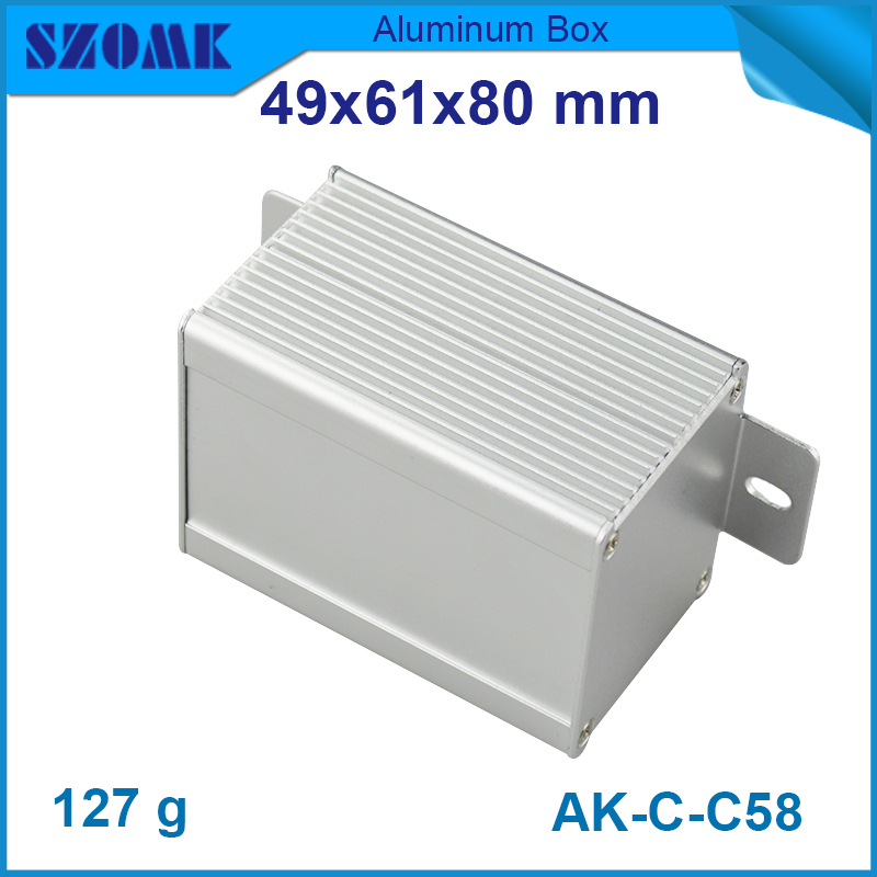 4 pcs/lot small normal aluminium enclosure with hangers on the panels and stripe on both sides for electronical component