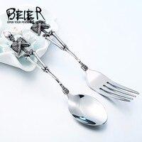 BEIER nuovo negozio forchetta e cucchiaio incredibile opera d'arte in acciaio inox di alta qualità unica moda artigianato