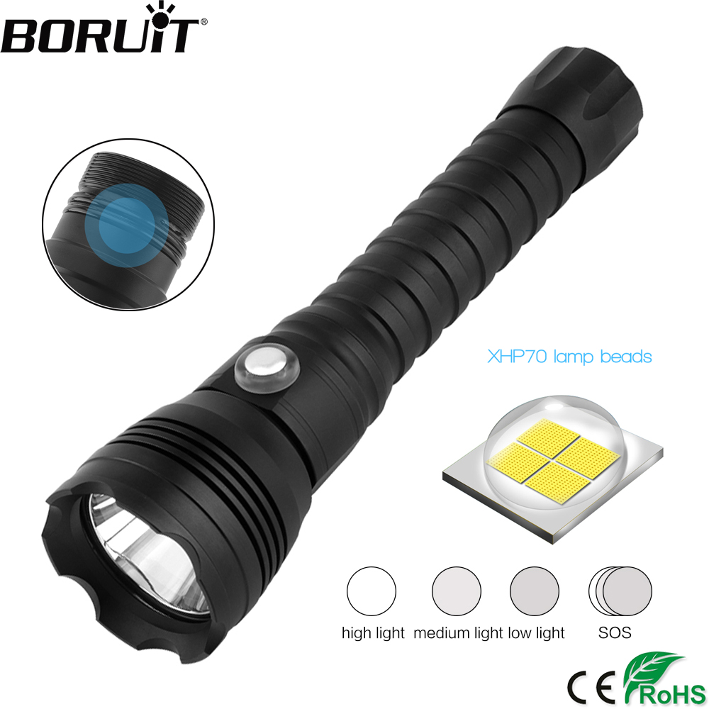 BORUiT A28 XHP70.2 LED Scuba Diving Flashlight Underwater 100M Torch Max 4000LM 4-Mode Lantern Diver Lamp by 26650 BatteryBORUiT A28 XHP70.2 LED Scuba Diving Flashlight Underwater 100M Torch Max 4000LM 4-Mode Lantern Diver Lamp by 26650 Battery
