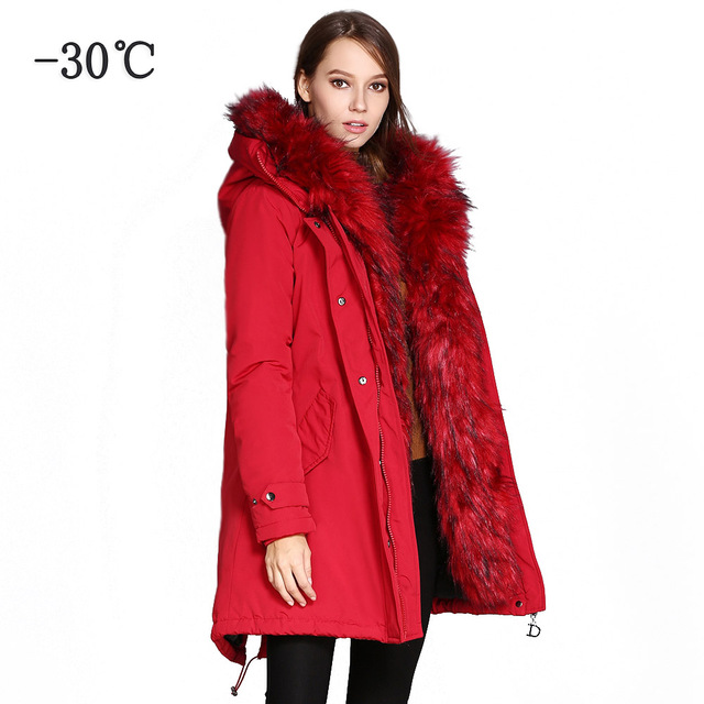 76aff3edf97 COUTUDI Women s Winter Jacket 2018 Fur Collar Coats Female Warm Parkas  Thick Solid Red Hooded Long Coat Cotton Padded Fur Parka