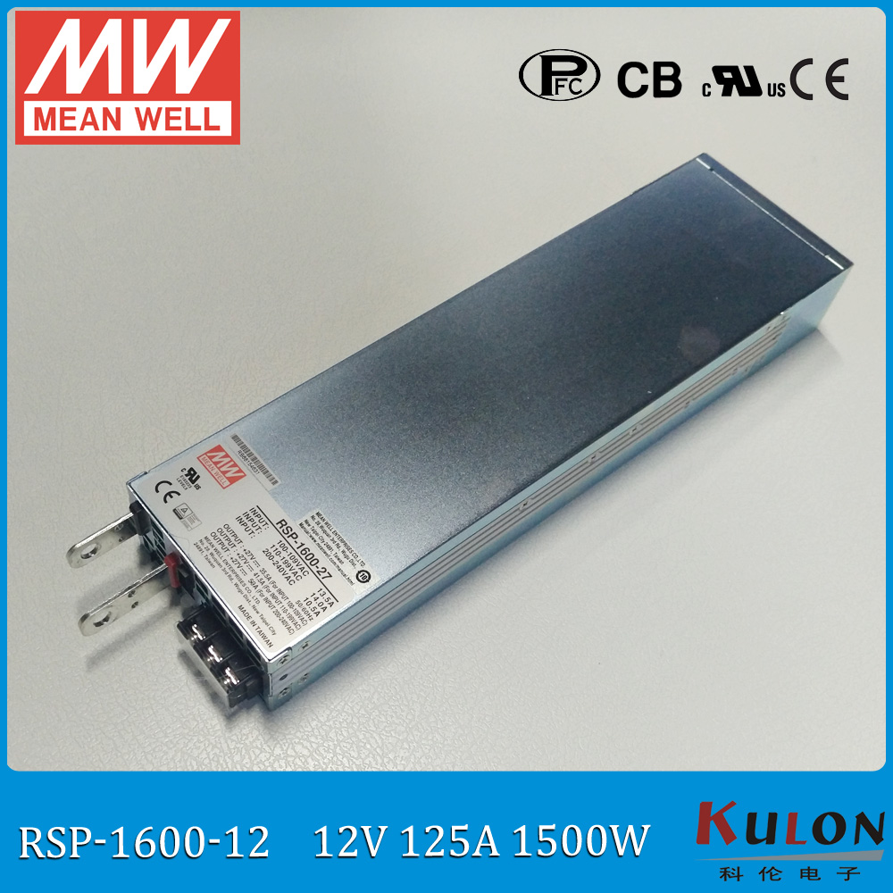 Original MEAN WELL RSP-1600-12 1500W 125A 12V ac/dc meanwell Power Supply with PFC output programmable Parallel operation original mean well rsp 2400 12 2000w 160a 12v voltage trimmable meanwell power supply 12v 2000w with pfc in parallel connection