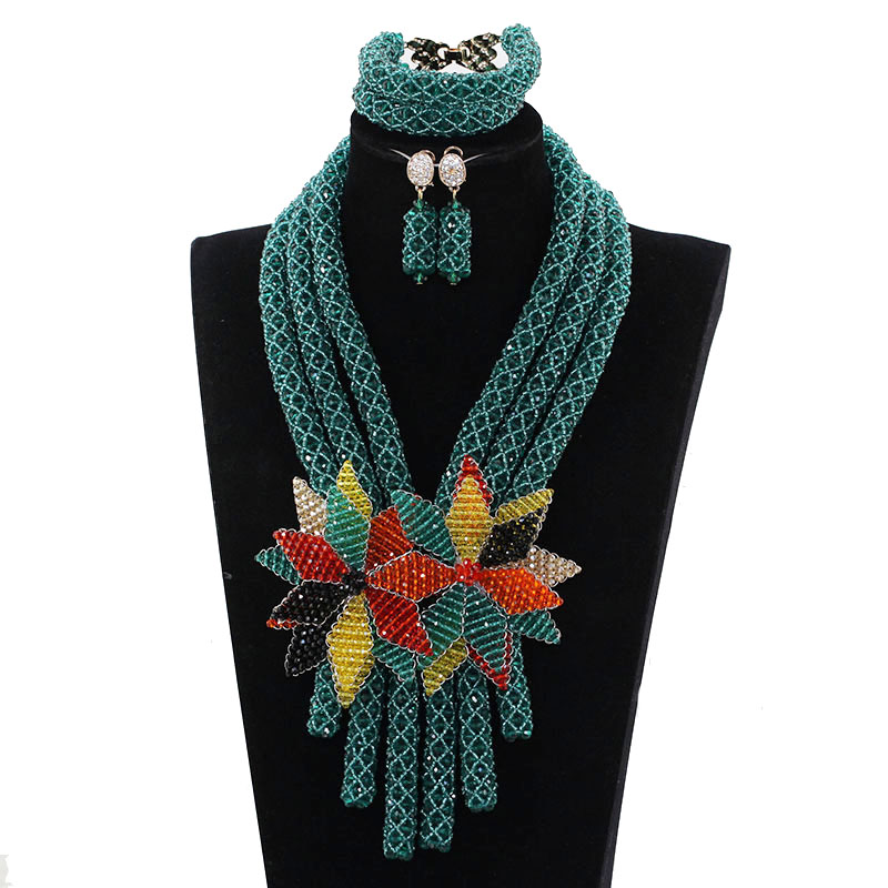 Teal Green Crystal Flower Pendant Bib Necklace Set Fashion African Women Party Jewelry Set Bride Beads Gift Free Shipping ABH582 цена и фото