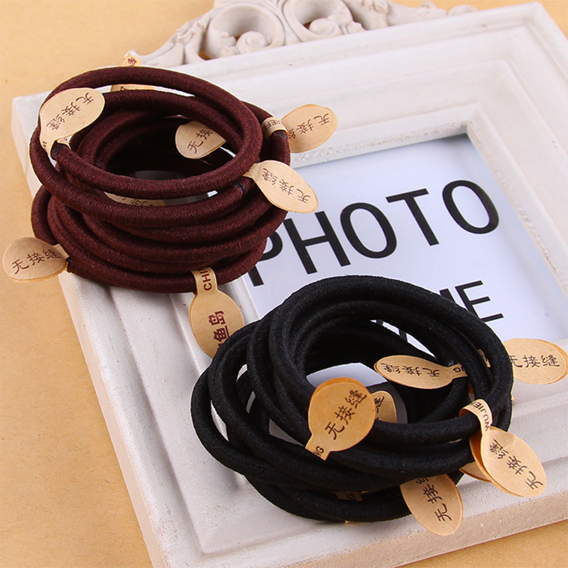 10pcs/Lot High Quality Simple Black Brown Elastic Hair Bands Women Headband Hair Ropes Rubber Band Lady Hair Accessories Tie Gum