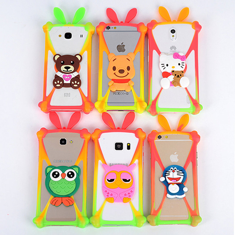 Cute Cartoon Silicone Universal Cell Phone Holster Cases Fundas For Fly IQ4401 Era Energy 2 Case Silicon Coque Cover