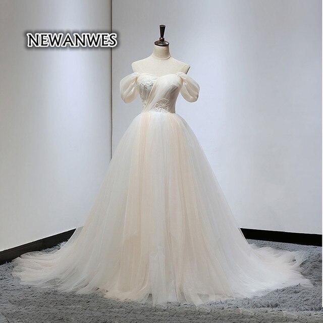 Newanwes Kontrast Farbe Brautkleid Spitze Perlen Champagne ...