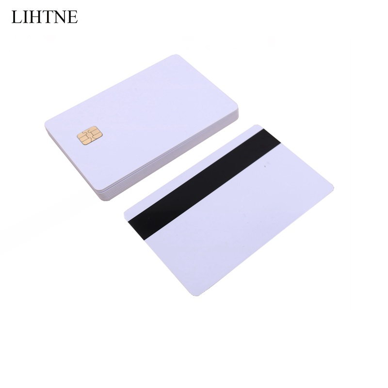 10PCS/lot SLE 4442 Chip With Hico Magnetic Stripe Contact IC Card 2 in 1 Blank PVC IC Cards 20pcs lot contact sle4428 chip gold card with magnetic stripe pvc blank smart card purchase card 1k memory free shipping