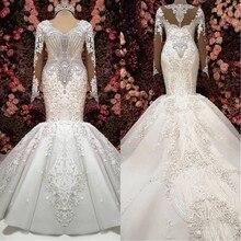 Luksusowe suknie ślubne syrenka z długim rękawem 2020 szata de mariee zroszony koronkowe suknie ślubne Handmade Sweep pociąg suknia dla panny młodej