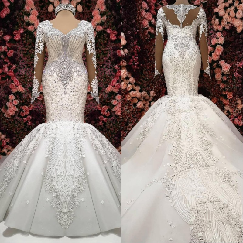 Luxury Mermaid Long Sleeve Wedding Dresses 2019 Robe De Mariee Beaded Lace Wedding Gowns Handmade Sweep Train Bride Dress