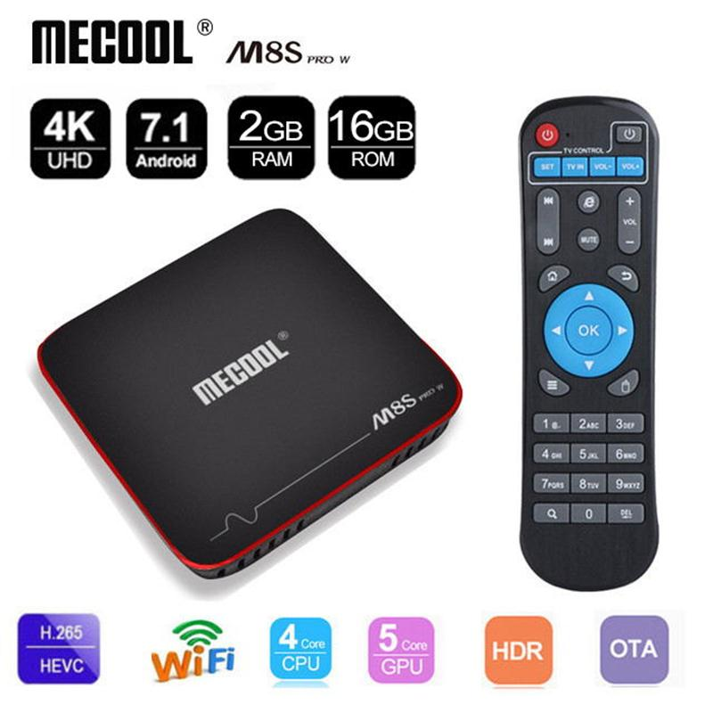 Mecool S905W M8s Pro W CAIXA Smart tv Amlogic Quad core 2/16GB Rom 4K H.265 HD 2.4G WiFi 100LAN android tv set top box