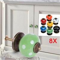 8pcs Vintage Dot Round Ceramics Drawer Knob Door Cabinet Kitchen Pull Handle Furniture Hardware Handle Decoration