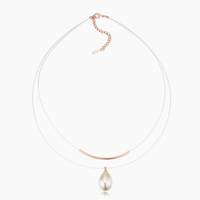 Simulated Pearl Necklace with Double Layer Transparent Line 2