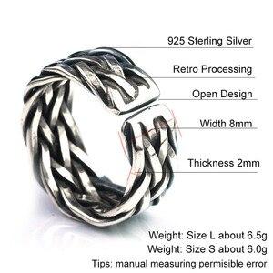 Image 5 - Мужское и женское кольцо с плетением V.YA, серебряное кольцо из тайского стерлингового серебра 925 пробы, Ювелирное Украшение на годовщину свадьбы большого размера