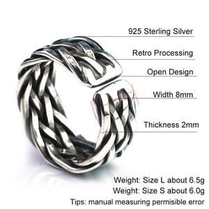 Image 5 - V. Ya Big Size Thai Zilveren Ring Voor Mannen Vrouwen 925 Sterling Zilveren Ring Weave Vorm Huwelijksverjaardag Fijne Sieraden