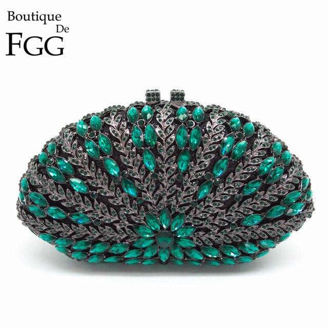 Boutique De FGG Escavar Floral Mulheres Verde Esmeralda Diamante Noite Bolsas Bolsas Saco Do Casamento Da Embreagem Das Senhoras Do Partido de Cristal
