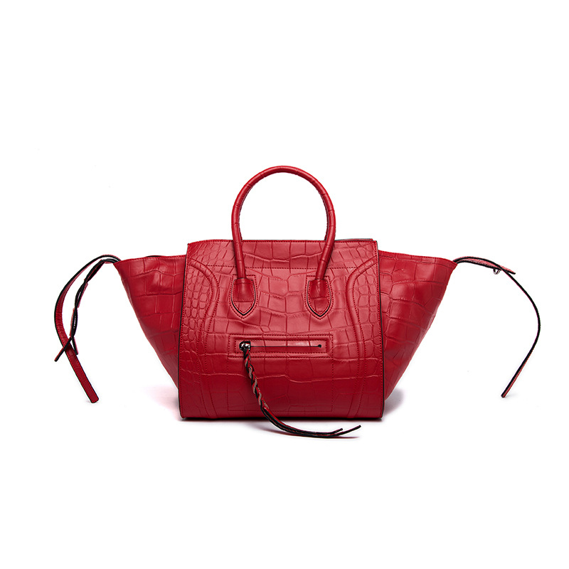 New 2017 Famous Designer Smile Bags Alligator Genuine Leather Women Handbag Trapeze Women Message Bag Tote Big Shoulder Bags