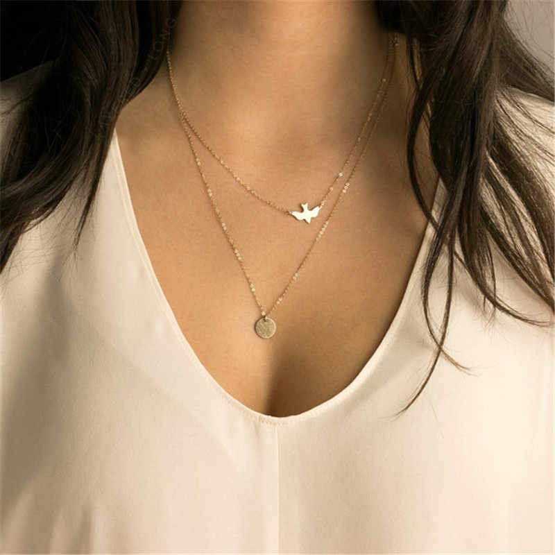 New Summer simple wild lady double peace pigeon women necklace jewelry   4ND102