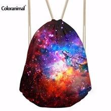 INSTANTARTS Men Casual Daypack 3D Galaxy Star Print Men Mini Gym Drawstring Bag String Backpack Universe Women Rucksack Sack Bag