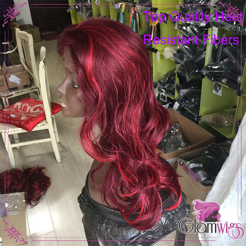 Wine Red With Bright Red Highlights Synthetic Lace Front Wig Body Wave Glueless 99J Heat Resistant Fiber Glueless Lace Wig 1