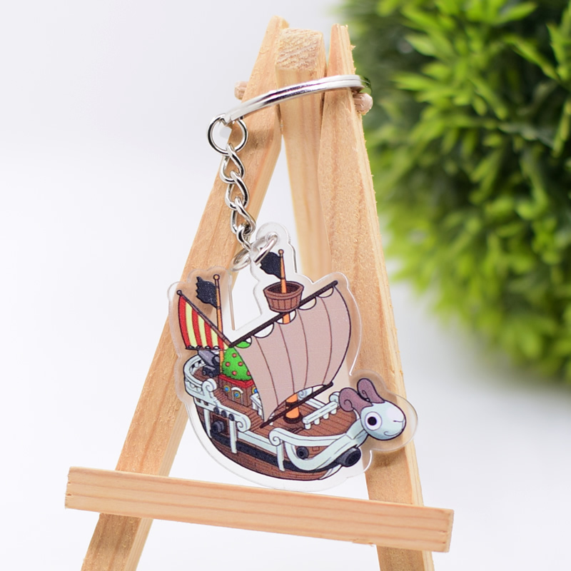 New One Piece Keychain Action Figure Peripherals Double Sided Cute Luffy Keyring Pirate Ship Going Merry Key Chains AKL229 in Action Toy Figures from Toys Hobbies