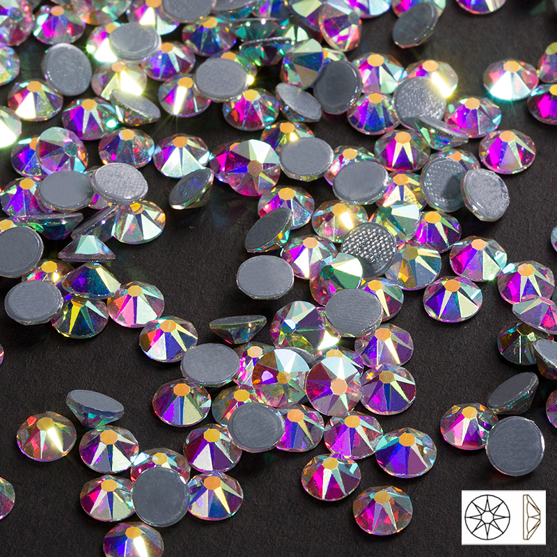 New Cut Facets 8 big 8 small hot back SS16 SS20 SS30 Crystal AB Iron On Rhinestone Hot Fix Rhinestones for Clothing Strass