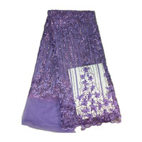 Nigeria french tulle net lace fabric with stones and beads in purple color for wedding dress