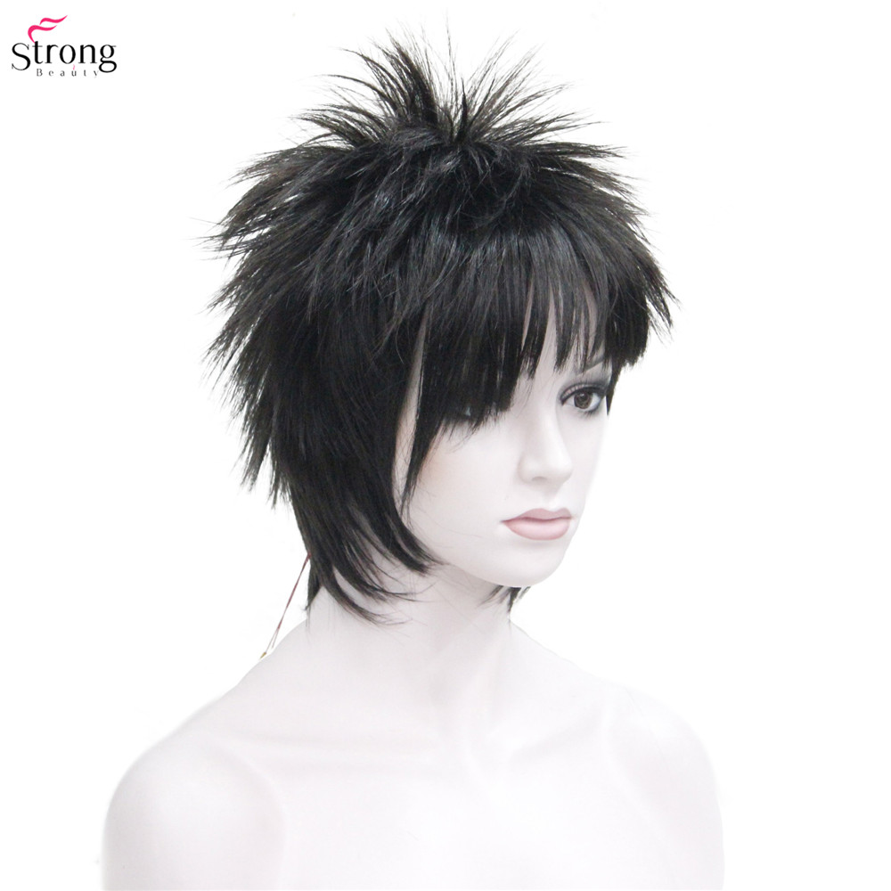 Image 2 - Synthetic Wigs punk Hairstyle Short Straight Hair Black/Red Wig Man StrongBeautySynthetic None-Lace  Wigs   -