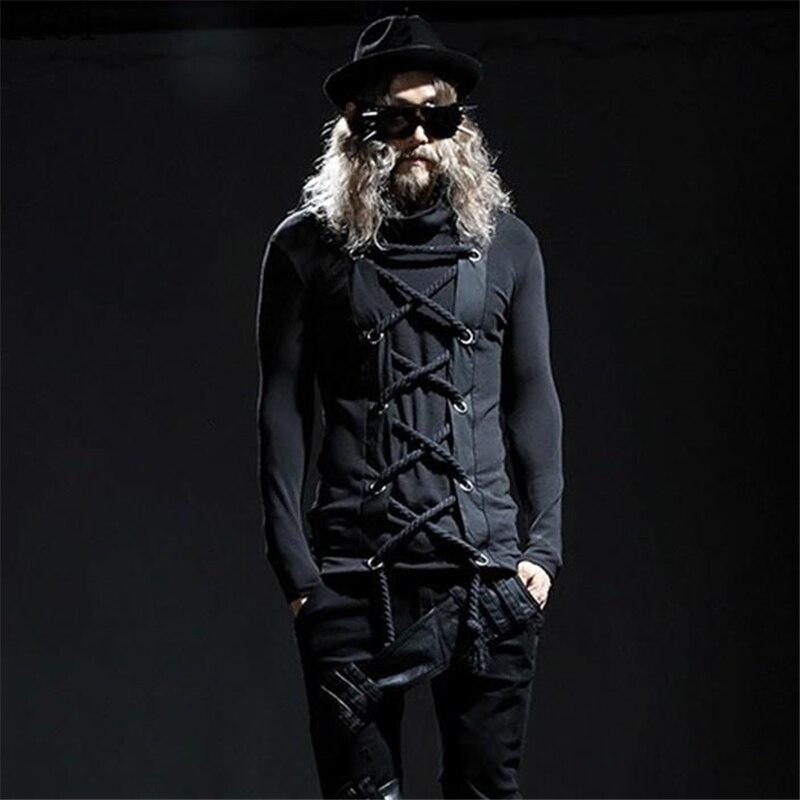 Hommes couleur unie col roulé avant corde Design Punk Rock pull à manches longues noir T-shirt