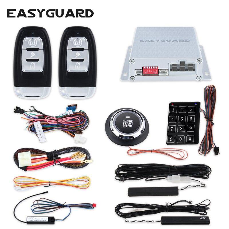 Easyguard Rolling code clé intelligente sans clé entrée alarme de voiture système à distance start stop bouton-poussoir commencer tactile mot de passe d'entrée DC12V