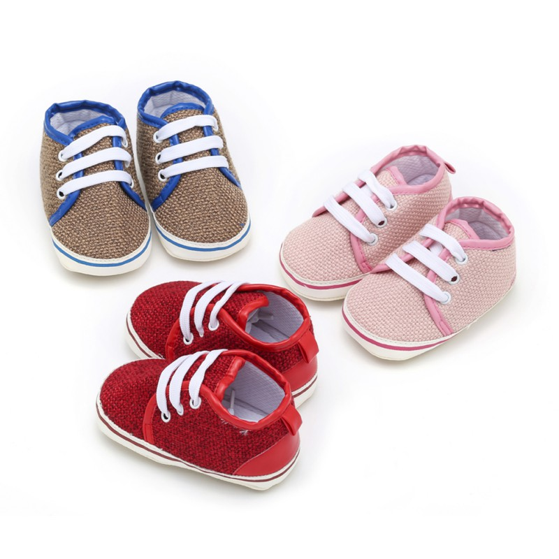 Infant First Walkers Spring Autumn Baby Boy Girl Lace-Up Soft Bottom Casual Shoes For Newborn 0-18M