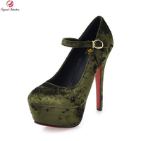 Original Intention New Elegant Women Pumps Nice Round Toe Thin High Heels Pumps Black Green Wine