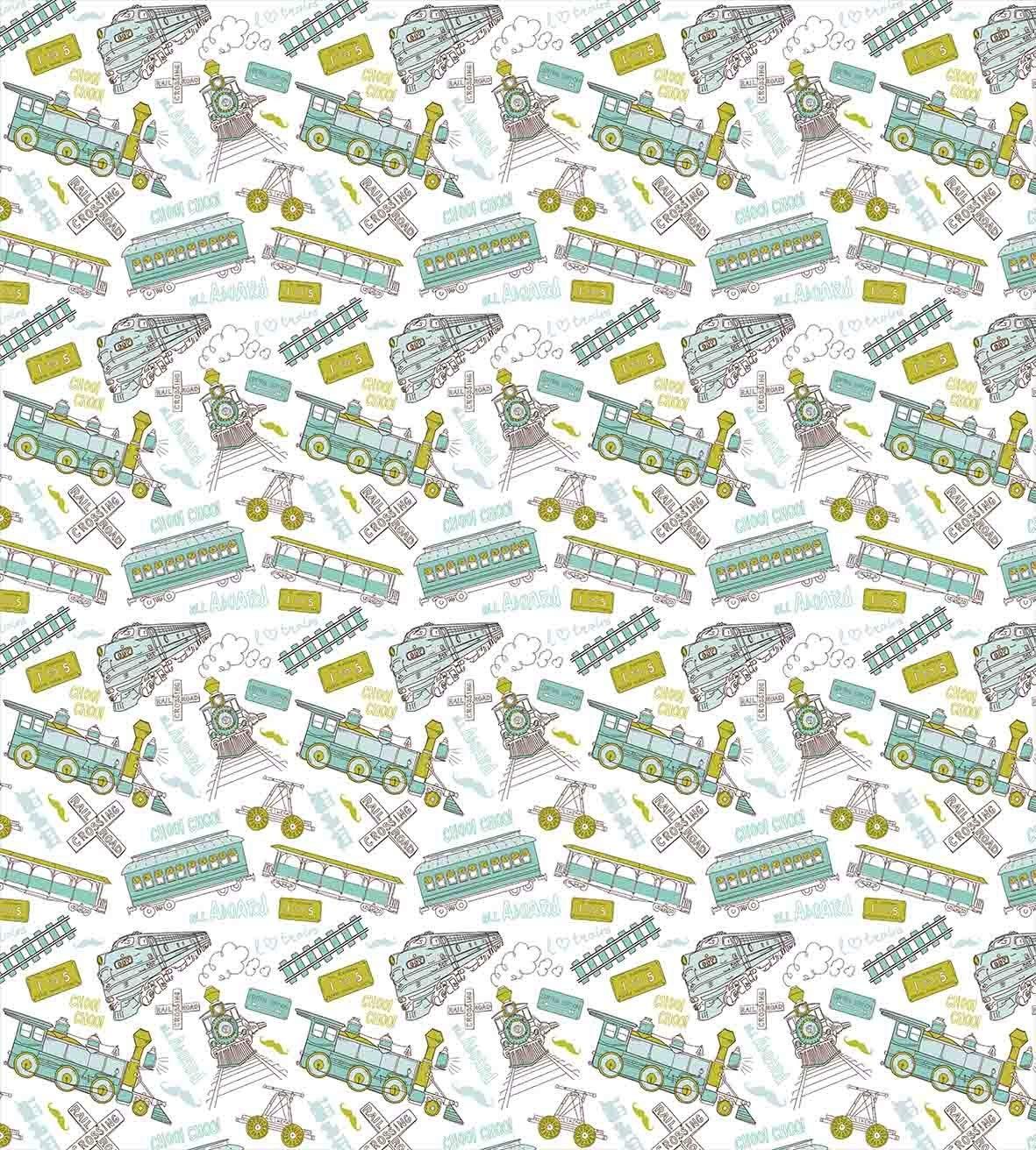 Motore a vapore, Set Copripiumino, Choo Choo Train Bambini Boy Modello Blu Verde Numero di Targa D'epoca, decorativo 4 pezzo Set di Biancheria Da Letto - 2