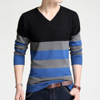 Sweater Pullover Men 2017 Male Brand Casual Slim Sweaters Men Stitching Fashion High Quality Hedging V