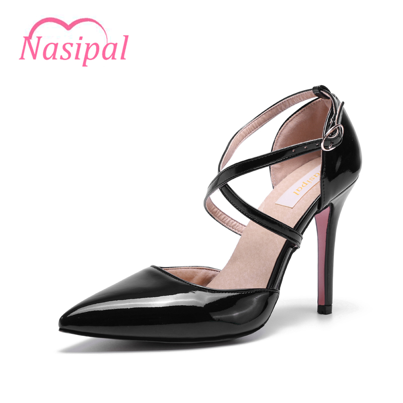 Nasipal Women Pumps Sexy high heel 2017 Pointed toe concise women ankle strap Pumps Lady shoes woman Pantent summer dress TR175