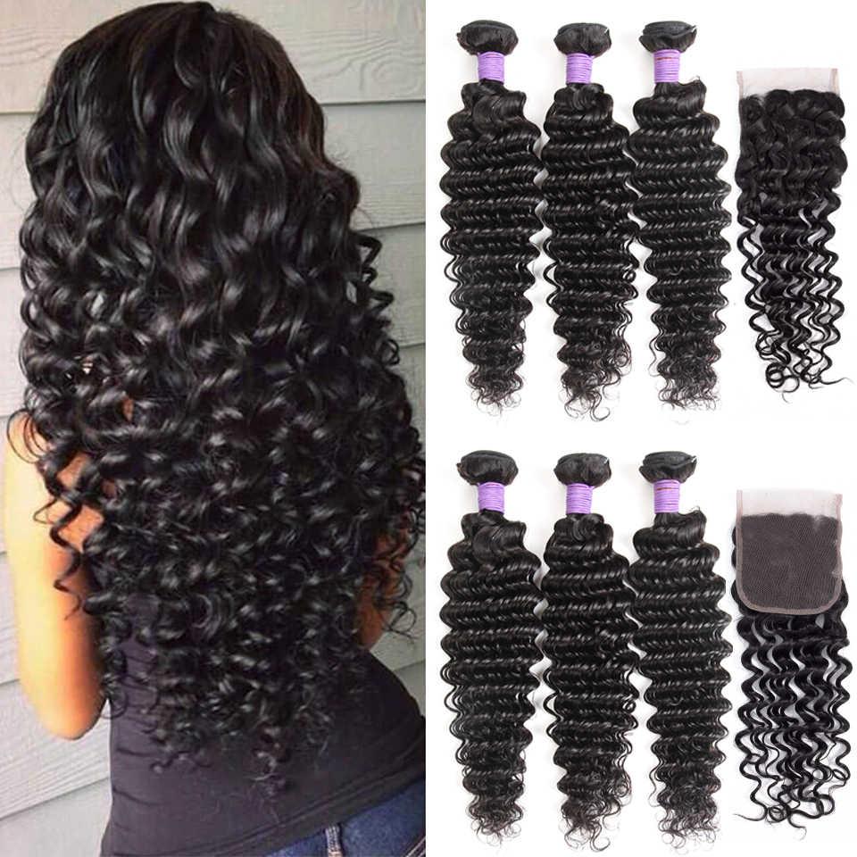 Как у королевы волосы продукты 3 4 шт. человеческие волосы пучки с закрытием не Реми плетение бразильские глубокая волна пучки с закрытием