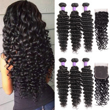 Queenlike Hair Products 3 4 Pieces Human Hair Bundles With Closure Non Remy Weave Brazilian Deep Wave Bundles With Closure(China)
